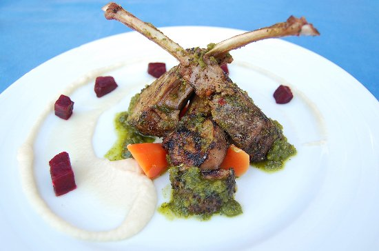 Daiquiri Dick's: Rack of Lamb with Cauliflower Puree and Green Sauce with Mint