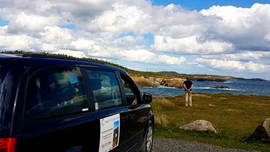Sydney, Canada: One of our many guests overlooking the coast at the Louisbourg Lighthouse