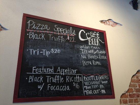 Fuoco Pizzeria Napoletana: Daily Specials