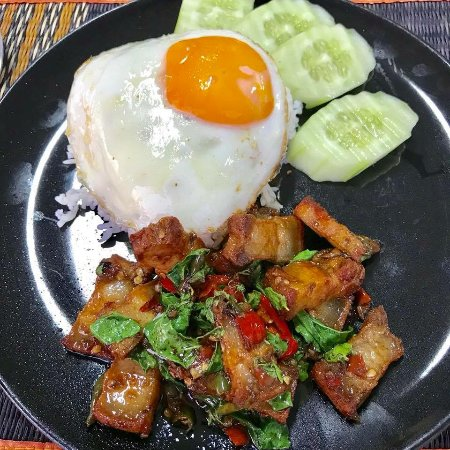 mays kitchen stir fried crispy pork with basil leaf and steamed rice with an egg - Mays Kitchen