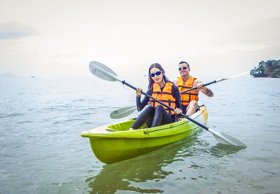 Sai Thai, Thailand: Kayaking to explore the geological site of Fossil Shell Beach.