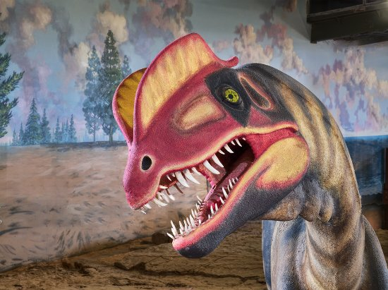 St. George, UT: Life-restoration model of an Early Jurassic Dilophosaurus