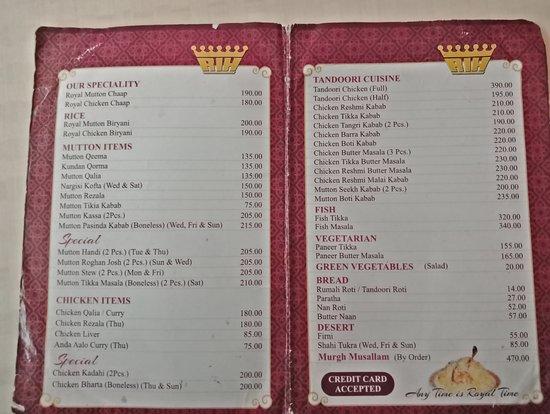 Mocambo Restaurant Kolkata Menu
