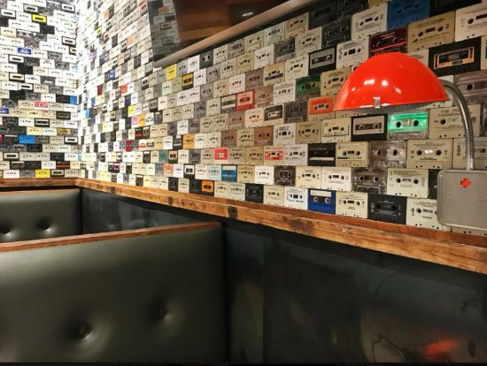 Rogers, AR: Over 3700 cassette tape we collected and love adorn our walls. Music and Burgers Rock!