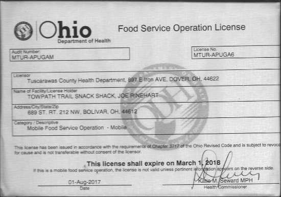 Bolivar, OH: Food Service Operation License No. MTUR-APUGA6