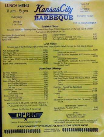 Kansas City Barbeque San Diego Downtown Menu Prices