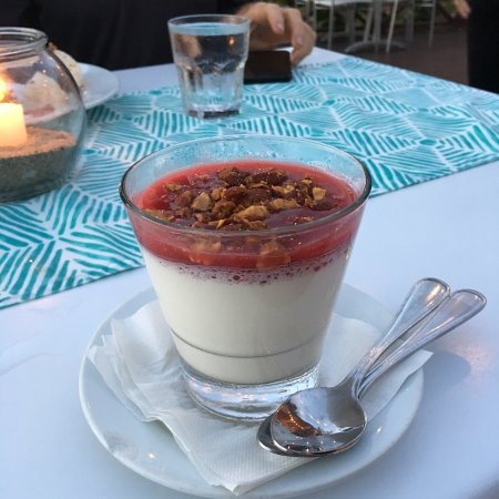 La Copa Llena at The Black Eagle: The sunset—the food (grilled pulpo and panna cotta)