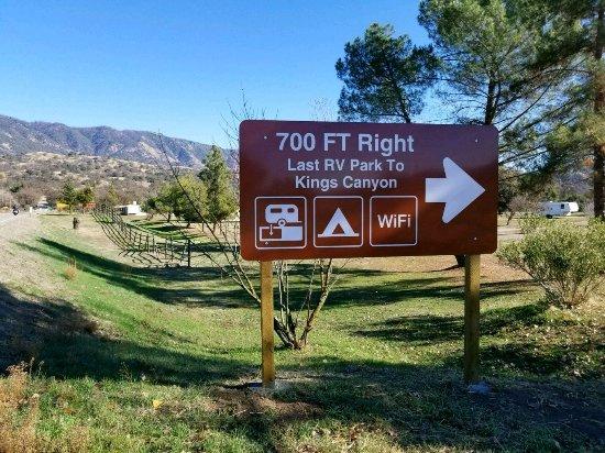 Dunlap, CA: street sign , Sequoia  RV park ahead.