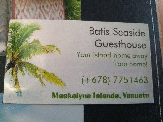 Lakatoro, Vanuatu: Sethric's business card.