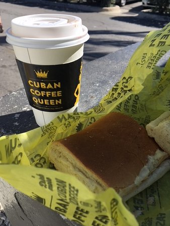 Cuban Coffee Queen : Cheese toast and Cafe Con Leche