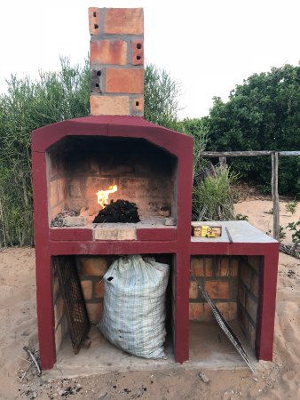 Inhambane, Mozambique: Braai with no supports for grill - I went looking for stones/ bricks...