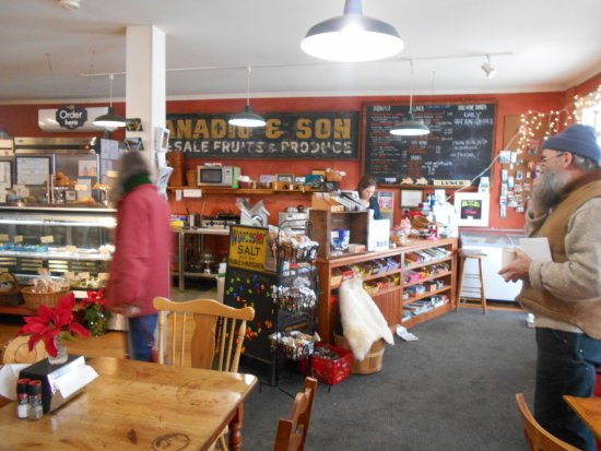 Harrisville, NH: The deli case on the left, cashier's counter on the right