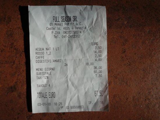 Trattoria Agli Artisti: Questo è quello che abbiamo pagato per 2 menù a prezzo fisso da 18,00, bevande, 1 caffè 1 grappa