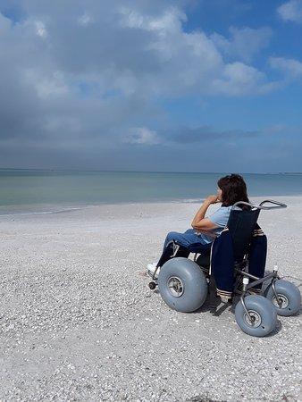 Caladesi Island State Park: Gloria on beach wheelchair