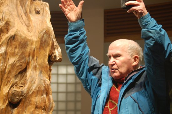 Prof Seamus Caulfield & a pine tree 4000 years old from Belderrig