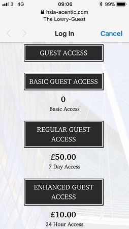 The Lowry Hotel: Guest Internet prices, November 2017