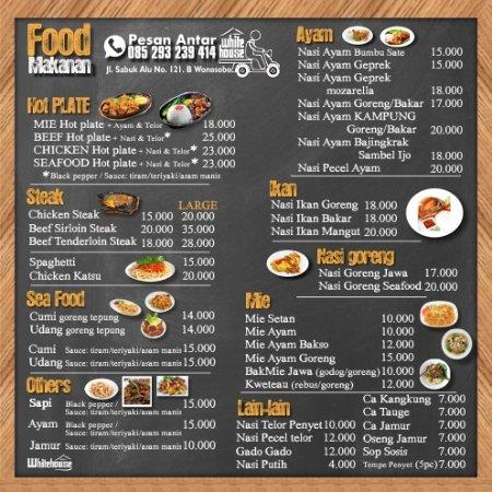 Food Menu Picture Of White House Cafe Wonosobo Tripadvisor