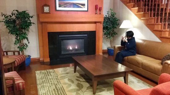 Country Inn & Suites by Radisson, Calgary-Airport, AB: ロビーの暖炉