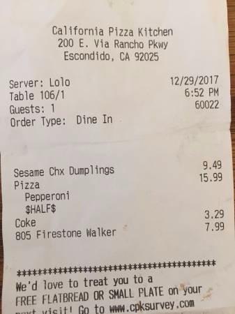 Receipt Picture Of California Pizza Kitchen Escondido