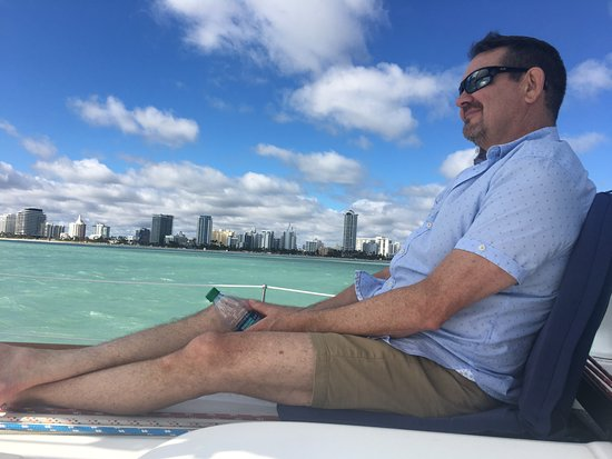 Miami Sailing - Private Day Charters: Comfortable seats on the bow for watching Miami glide by.