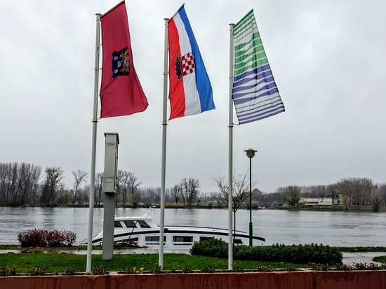 Dock outside with serbia across the river