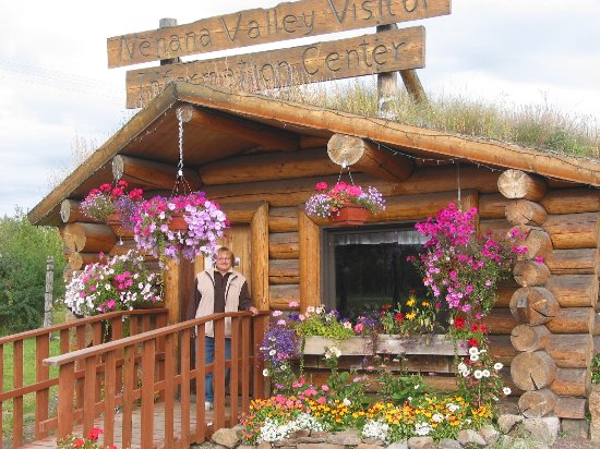 Nenana, AK: this building has a sod roof & big beautifull flowers