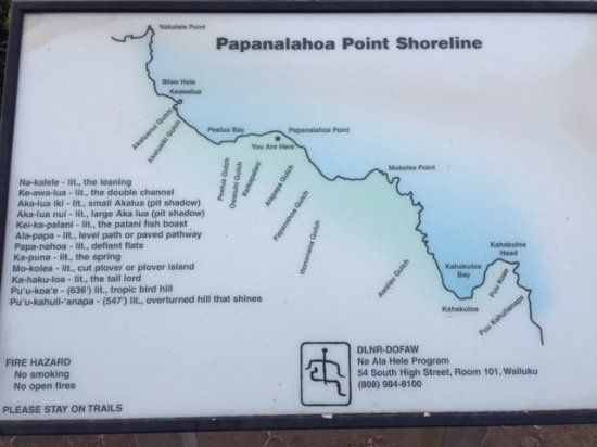 Shoreline Map Helped Up Locate The Blow Hole Picture Of Nakalele