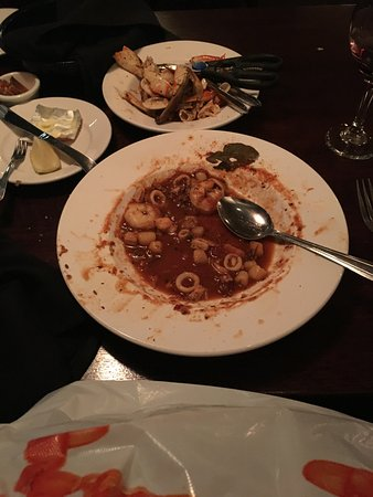 Moonstone Beach Bar & Grill : Cioppino at the Moonstone Grill is filled with a variety of fish and shellfish! I make a mess!