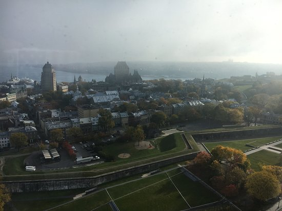 Hilton Quebec: Same view the next morning - Old Quebec and St. Lawrence River.