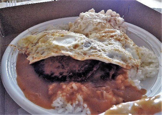 Loco Moco 2 Hamburger Patties 2 Eggs Over Rice With Gravy And Macaroni Salad Picture Of Rainbow Drive In Honolulu Tripadvisor