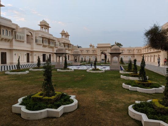 The Oberoi Udaivilas: One of the hotel's courtyards