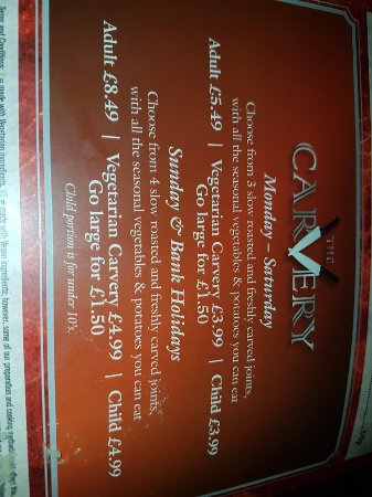 Great Harwood, UK: New carvery prices , same old decor