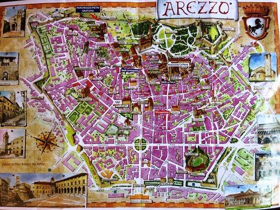 Cartina Geografica Di Arezzo.Mappa Di Arezzo Disponibile Nel B B Con Indicazione Di Dove Parcheggiare Gratuitamente Foto Di Cento Passi Dal Duomo Arezzo Tripadvisor