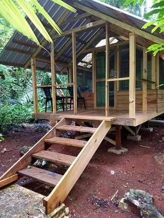 San Antonio, Belize: Front porch of a casita. Note steps. May not be appropriate for guests with limited movement.