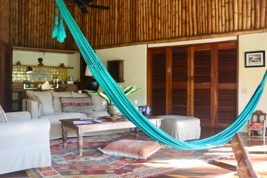 Blancaneaux Lodge: The central living space with a hammock!