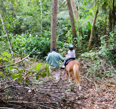 Blancaneaux Lodge: Enjoying the pony ride through the woods