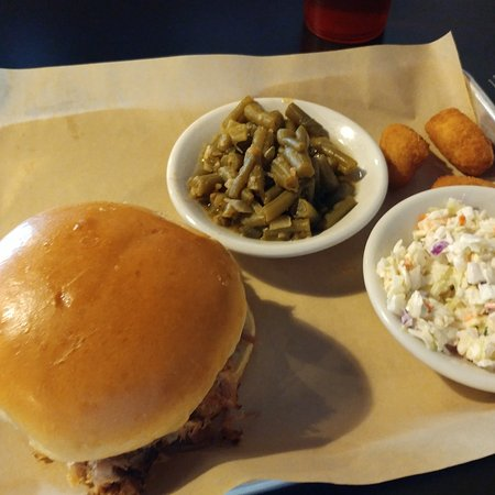 Marion, VA: BBQ sandwich with green beans, cole slaw & hush puppies