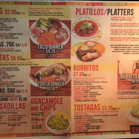 Authentic Mexican. Menu pic included. 4 out of 5