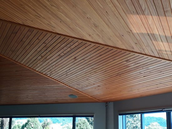 Hokonui Bed and Breakfast : A photo of the Eucalyptus ceiling above the Lounge, a tree which they grew themselves!