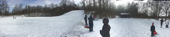 Highbanks Metro Park: the sled hill with the fire hut