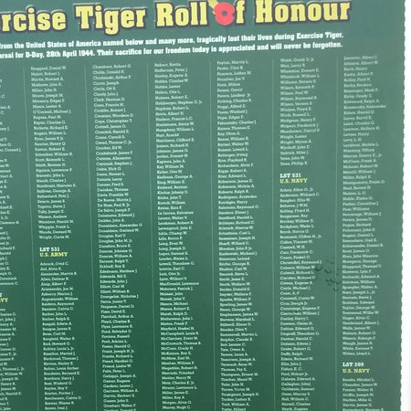 Slapton, UK: Exercise Tiger roll of honour.