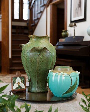Ephraim Pottery: Canopy Vase, Heritage Garden Vase & Trillium Tile