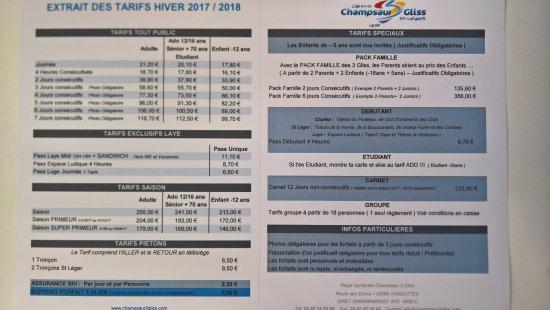 Saint-Leger-les-Melezes, ฝรั่งเศส: tarifs des remontées 2017/2018