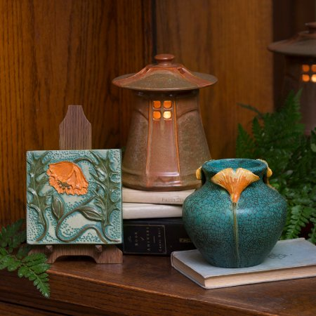 Ephraim Pottery: Craftsman Poppy Tile, Cottage Lantern & Living Fossil Vase