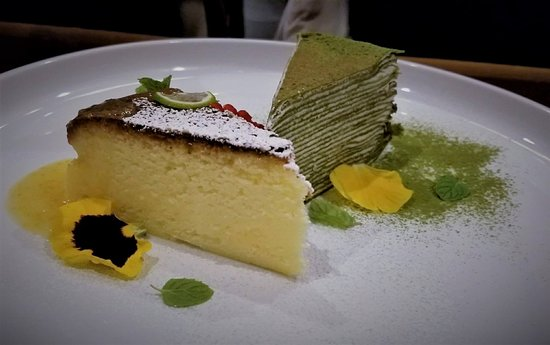 Haru Sushi Cheesecake And Matcha Tea Crepe Cake For Dessert