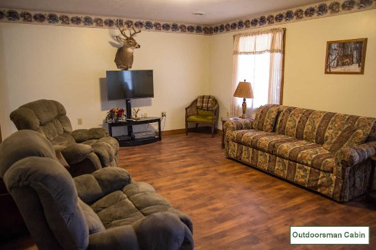 Golconda, IL: Living Room with DirectTV and FREE WiFi at the Outdoorsman Cabin - Willowbrook Cabins