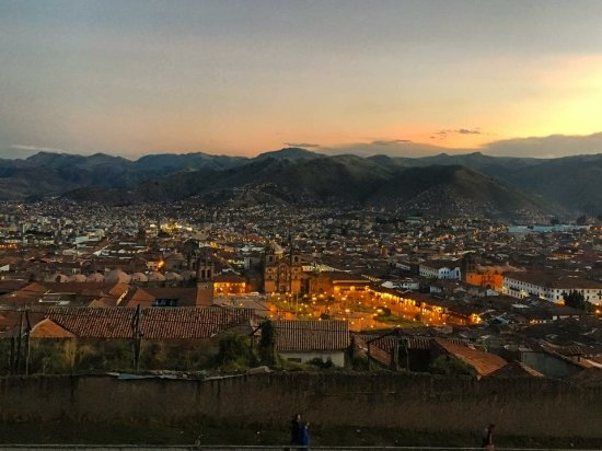 A beautiful sunset view overlooking Cusco.