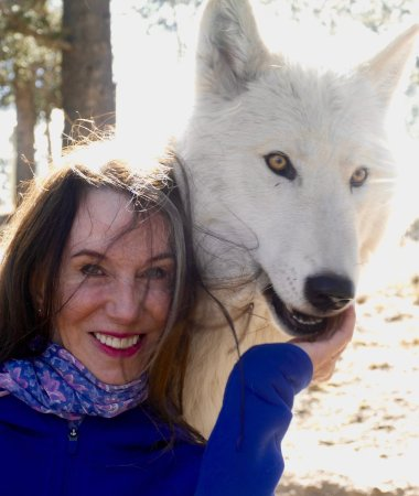 ‪‪Divide‬, ‪Colorado‬: One of the adolescent Arctic Wolves and me.‬