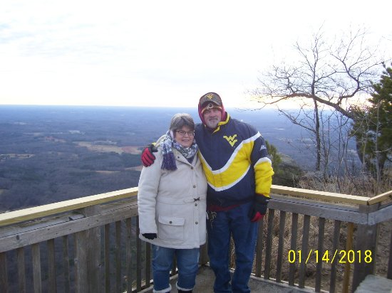 Pilot Knob Inn: Jen and I on Pilot Mountain for the Sunset