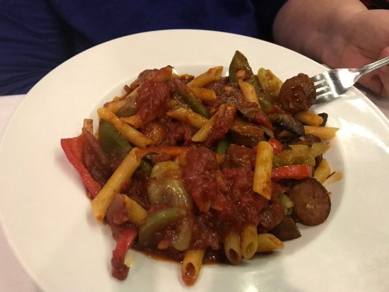 Harwood Heights, IL: Pasta with Italian sausage, peppers, in a delicious sauce